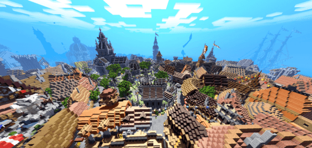 Using shaders in a large city with a variety of medieval-style buildings
