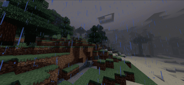 Rain on the border of the biomes of the plain and desert