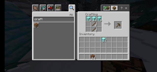 Obtaining a Pickaxe from Frost Planks