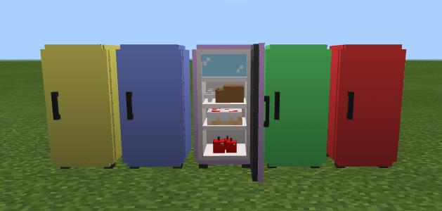 Five colored refrigerators